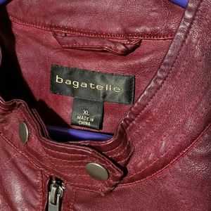Bagatelle Burgundy Faux Leather Moto Jacket